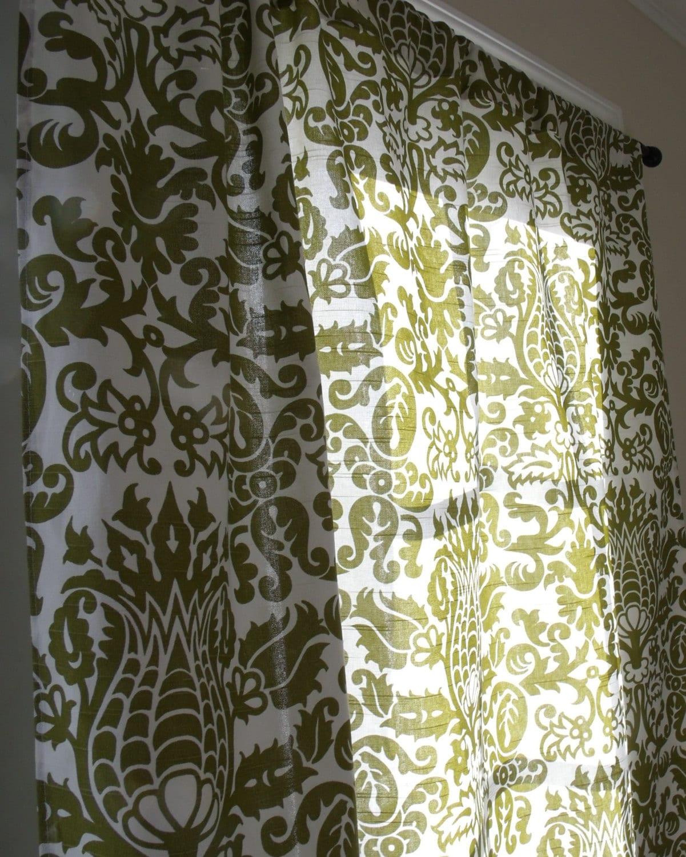 olive damask curtain panels olive green and white damask. Black Bedroom Furniture Sets. Home Design Ideas