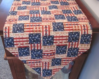 American Flag Table Runner 54 inch Reversible Red White and Blue Old Glory Waving Flag Table Runner Red Stars Table Runner Patriotic Runner