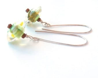 Fresh lime glass and Sterling Silver Earrings