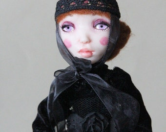 SALE Halloween Witch Burgundy One of a kind Art Doll Figurine Craft polymer clay