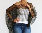 Tunic Shrug, Dark Olive Green Net Fabric Top Wear. Off Shoulder. Handmade.