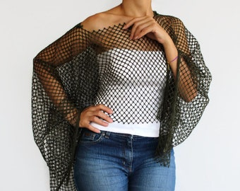 Summer Tunic Poncho, Dark Green Net Fabric Women Fashion Shrug Top Wear, Off Shoulder Spring Clothing