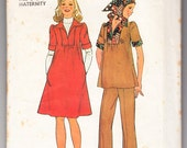 Vintage 1975 Simplicity 7153 Sewing Pattern Maternity Dress or Top, Pants and Scarf Size 6, 8 Bust 30-1/2, 31-1/2