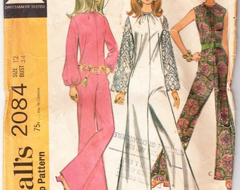 Vintage 1969 McCall's 2084 Sewing Pattern Misses' Pant-Dress in Three Versions Size 12 Bust 34