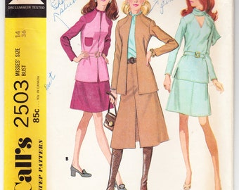 Vintage 1970 McCall's 2503 Sewing Pattern Misses' Separate Size 14 Bust 36
