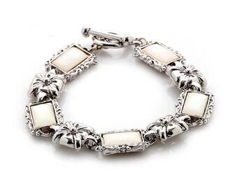 White Mother of Pearl Flower Design Rectangle Shell Link Bracelet