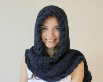 Hand Knit Navy Blue Wool Hooded Scarf / Long Cable Shawl / Cowl Christmas gift Under USD100