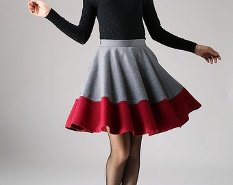 grey skirt, red skirt, mini skirt, pleated skirt, high waisted skirt, swing skirt, cute skirt, custom skirt, skirt, gift for girl (1096)