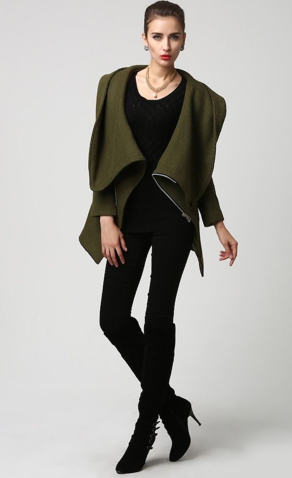 Moss Green jacket short coat wool coat Womens jackets