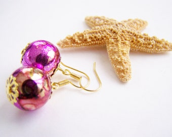 FREE SHIPPING WAI - Gold and Fuchsia Glass Floats Earrings - affordable gifts - bright - Summer - gifts - weddings - holiday sparkle