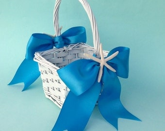 Beach Wedding Flower Girl Basket with Starfish and 8 Ribbon Choices