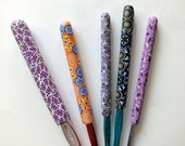 SALE - 5 Crochet  Hooks - Susan Bates - handles covered with polymer clay