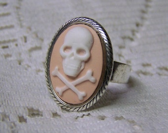Skull Crossbones Lady Pirate Adjustable Ring - Pirate Cross - Silver Rope - PAID USA Shipping