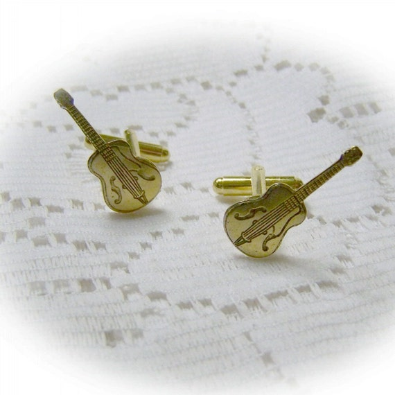 Acoustic Guitar Cuff Links - Music Band Rock Antiqued Brass Cufflinks - Folk Guitar - Musical Instrument