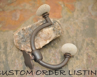 Custom Orders - Coat Hook with Beach Rocks - Over'n'Under