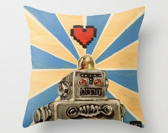 Toy Robot Tin Toy Art Throw Pillow Cover MADE to ORDER 8 Bit Love Machine