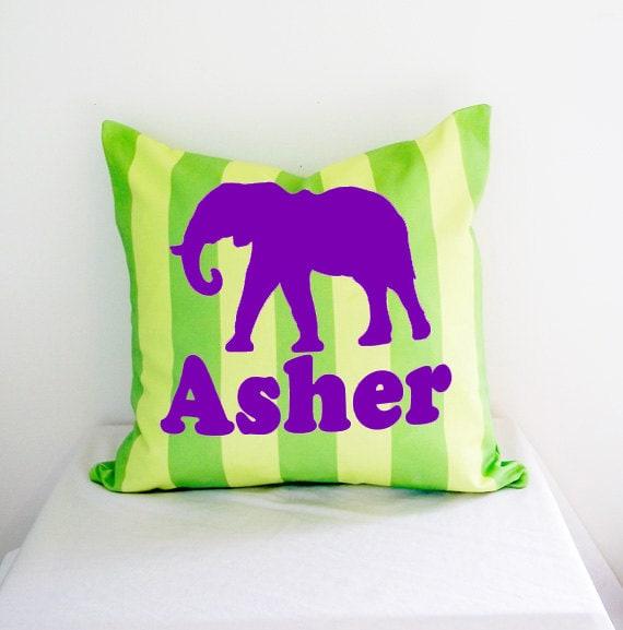 Elephant Throw Pillow, Personalized Boys Room Decor Pillow, Purple Elephant on Khaki Stripe, Customized Baby Boy Nursery Decor 18 x 18 cover
