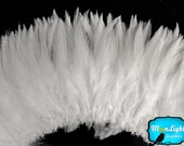 "Rooster Feathers, 4 Inch Strip - 6-7"" NATURAL WHITE Strung Chinese Rooster Saddle Feathers : 3864"
