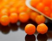 15 - 100% Guaranteed 8mm Opal Orange Melon Beads - Corrugated Czech Glass Rounds