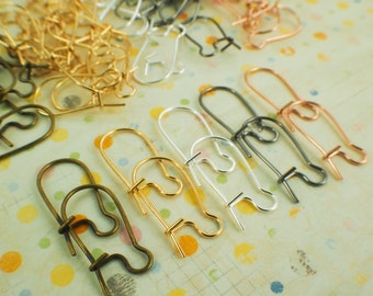 25 Pairs Kidney Ear Wires - Silver Plate, Gold Plate, Antique Gold, Gunmetal and Dusty Rose Gold - Best Commercially Made