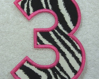 5 Inch Number 3 Fabric Embroidered Iron On Applique Patch Ready to Ship