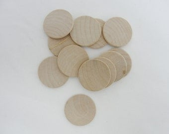 """25 wooden Circles, wood disk 1 1/4"""" (1.25"""") 1/8"""" thick unfinished DIY rounded edges"""