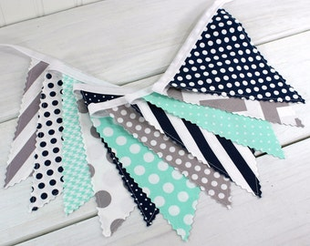 Bunting Banner Fabric Flags, Photography Prop, Nursery Decor, Birthday Decoration - Navy Blue, Mint Green, Gray, Grey, Chevron, Dots, Stripe