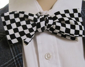 Mr Skinny Black and White Checkerboard Bow Tie
