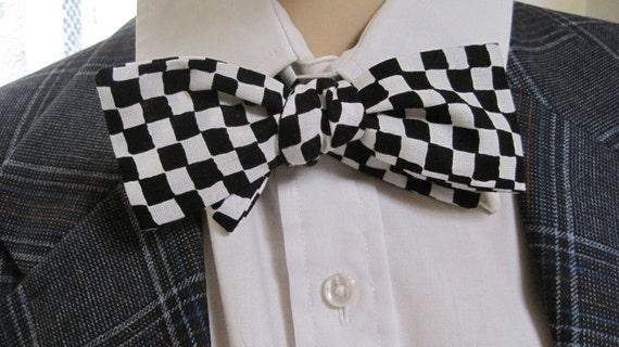 mr black and white checkerboard bow tie