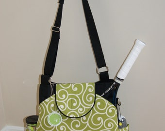 Large Tennis Bag with rounded pocket Made of Water repellent fabric.-Made to Order