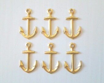 Raw Brass Anchor Charms 9mm x 16mm