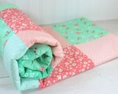 Baby Quilt, Patchwork Quilt, Shabby Chic, Flower, Floral, Minky Baby Blanket, Nursery Decor, Coral, Pink, Blush, Mint, Baby Girl