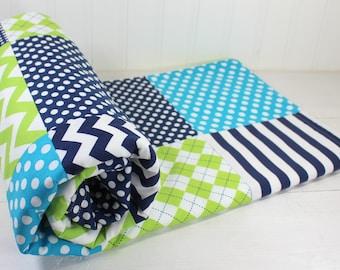 Baby Blanket, Minky Blanket, Boy Blanket, Crib Blanket, Crib Bedding, Nautical, Lime Green, Turquoise, Navy Blue, Chevron, Dots, Stripes