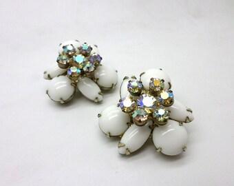 Vintage Aurora Borealis Rhinestone and Milk Glass Clip On Earrings