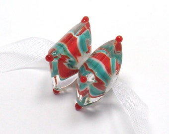 Lampwork beads  -  Stop & Go  -  green, red, white,  twisty pattern, Christmas, lampwork pair, twistie, stripes
