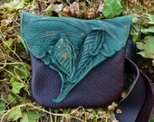 Medium Leather Forest Purse / Bag Pouch Tote Sack Satchel Woodsy Woodland Elf Faerie Renaissance Hobbit Earthy Earth Wood Nymph Leaves LARP