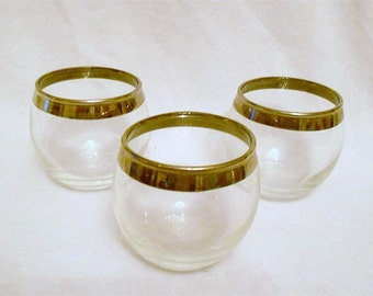 3 Vintage Round Roly Poly  Silver Rimmed Lowball Glasses  Mad Men Chic