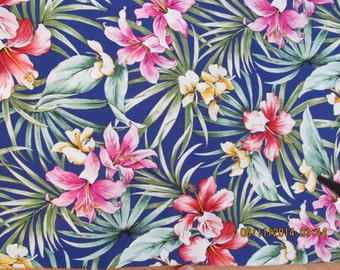 Marianne of Maui Hawaiian Quilting Fabric Indigo with Orchids and Litles  Arrival Bolt