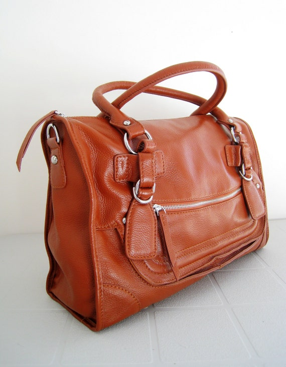 Brown leather satchel bag - CLEO - brown messenger bag