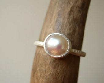 Natural Pearl Stacking ring - Sterling silver - Custom made by metalmorphoz