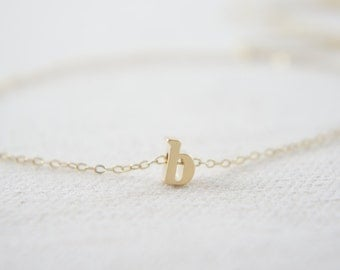 """Gold Letter, Alphabet, Initial  """"b"""" necklace, birthday gift, lucky charm, layered necklace"""