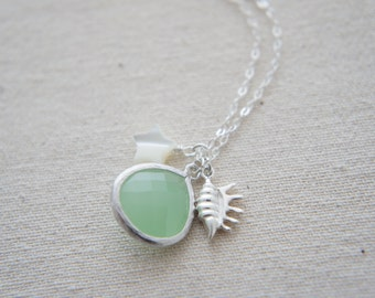 Mint green gem, mother of pearl, star, seashell sterling silver necklace, wedding, bridesmaid, gift, layered necklace, trendy