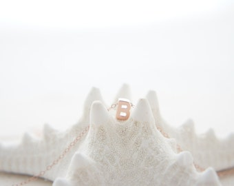 "Rose Gold Letter, Alphabet, Initial capital  ""B"" necklace, birthday gift, lucky charm, layered necklace, trendy"