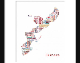 Okinawa Map Typography Map Color Poster Print Text Map