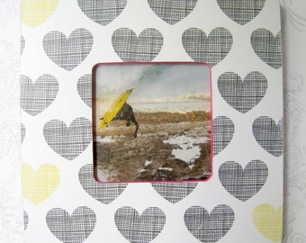 Hearts -- Picture Frame -- Hot Pink Yellow -- Dorm -- Teen
