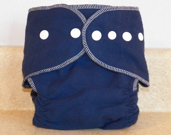 Fitted Preemie Newborn Cloth Diaper- 4 to 9 pounds- Navy and White