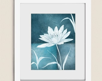 11 x 14 Lotus Flower Wall Art Print, Dark Blue Room Decor, Floral Living Room Art, Botanical Wall Decor (205)