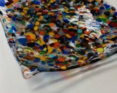 Confetti multi color fused glass dish plate