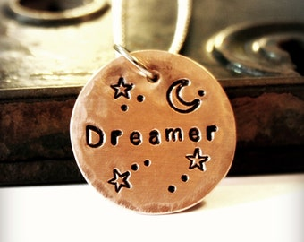 DREAMER with Moon and Stars - Handmade Copper and Brass Pendant - Handstamped - Copper Necklace - Can Be Personalized - Customized