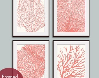 Underwater Sea Coral Collection (Series C) Set of 4 - Art Prints (Featured in Coral Rose on Soft Cream) Nautical Inspired Art Prints